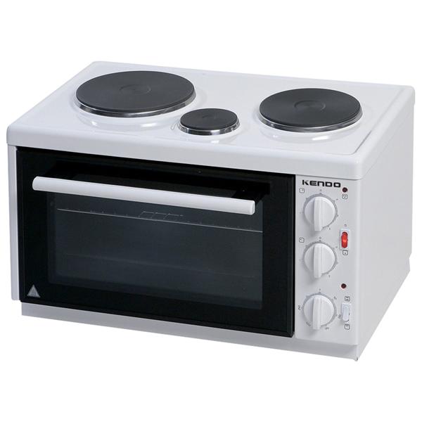 Kendo KN 4503 ηλεκτρικό κουζινάκι, ισχύος 1000W,χωρητικότητας 28lt, με 3 εμαγιέ εστίεςκαι πόρτα με διπλό κρύσταλλο.