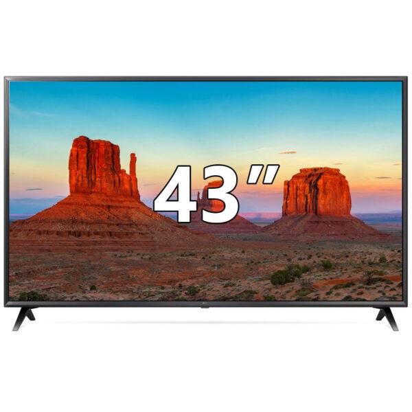 "LG 43UK6300 Ultra HD 4K TV 43"", με ομοιόμορφη εικόνα από οποιαδήποτε γωνία, 4K Active HDR για αληθοφανείς σκηνές, πολλαπλά κανάλια ήχου και κομψό σχεδιασμό."