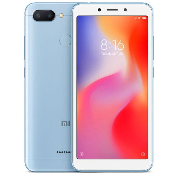 "Xiaomi Redmi 6 Blue Smartphone 5.45"" 3GB/32GB, με στρογγυλεμένες γωνίες, 18:9 πλήρη οθόνη HD, εμπρόσθια κάμερα 5MP και διπλή πίσω κάμερα 12MP+5MP με ΑΙ, 12nm οκταπύρηνο επεξεργαστή και 3000mAh μπαταρία."