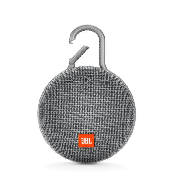 JBL bluetooth speaker waterproof-IPX7 grey, με 10 ώρες μουσικής αυτονομίας, ενσωματωμένο κλιπ και ανοικτή ακρόαση τηλεφωνικών κλήσεων.